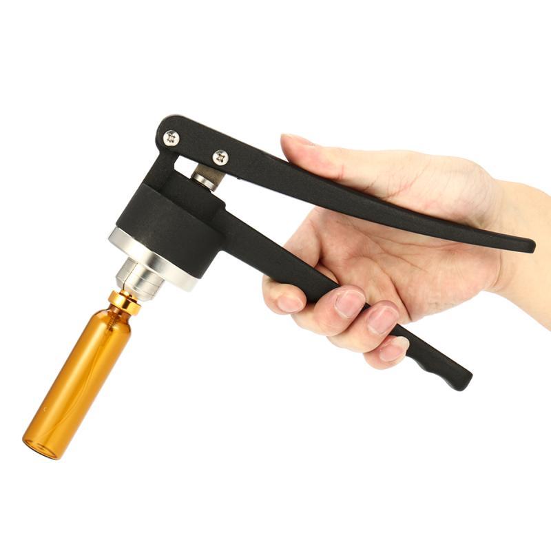 цена на 15mm Stainless Steel Manual Vial Crimper Hand Sealing Flip Off Caps Crimping Machine Capper + Bottle For Liquid Infusion Bottles