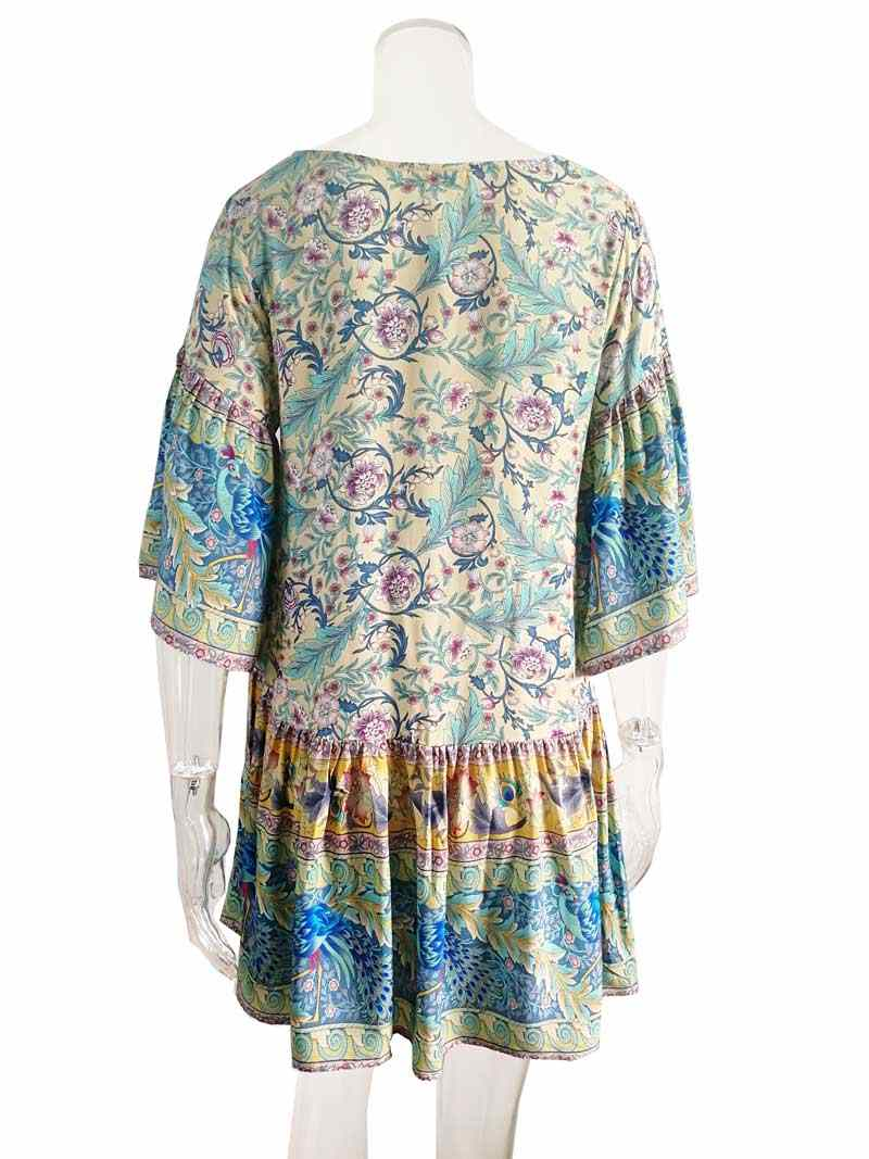 daf23cc38b7d7 Vintage Inspired boho dress wide kimono sleeve floral peacock print  resorted mini summer dress Spring 2019 New women dresses