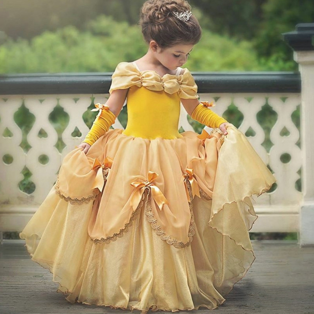FINDPITAYA Beauty And The Beast Dress For Girl Belle Costume Child Deguisement Elza Carnaval Christmas Kid Sling Bridesmaid Prom