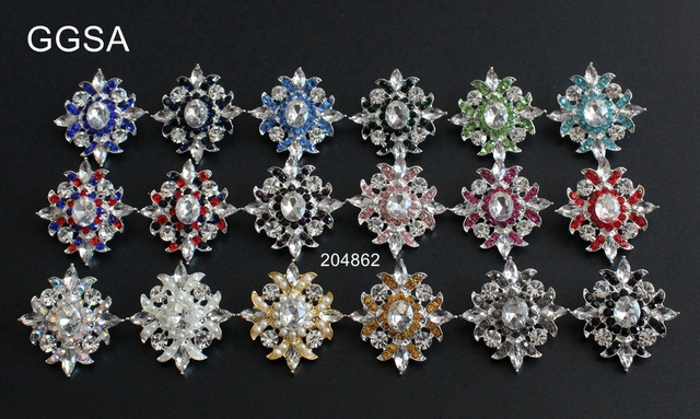 US $16 98 |GGSA 10pcs Vintage Rhinestone Buttons Pearl Red Navy Royal Black  38x40mm diy Apparel browband wedding AB Crystal Centerpieces -in Buttons