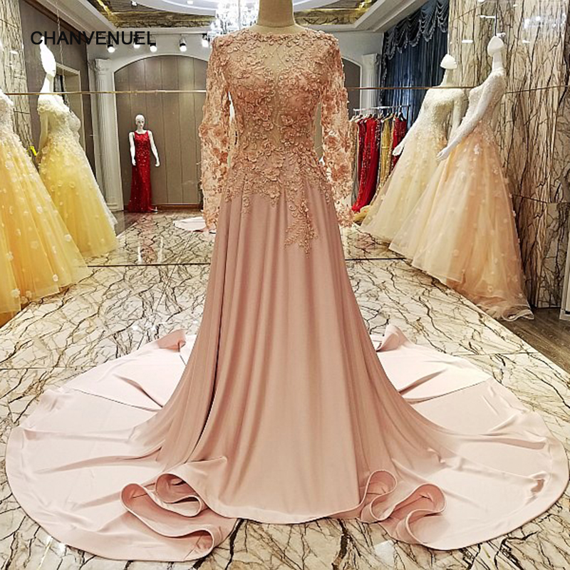 LS96378 robe de soiree longue 2018 long sleeves party gowns zipper back  beaded lace long formal evening dress real photo e17028d9383c