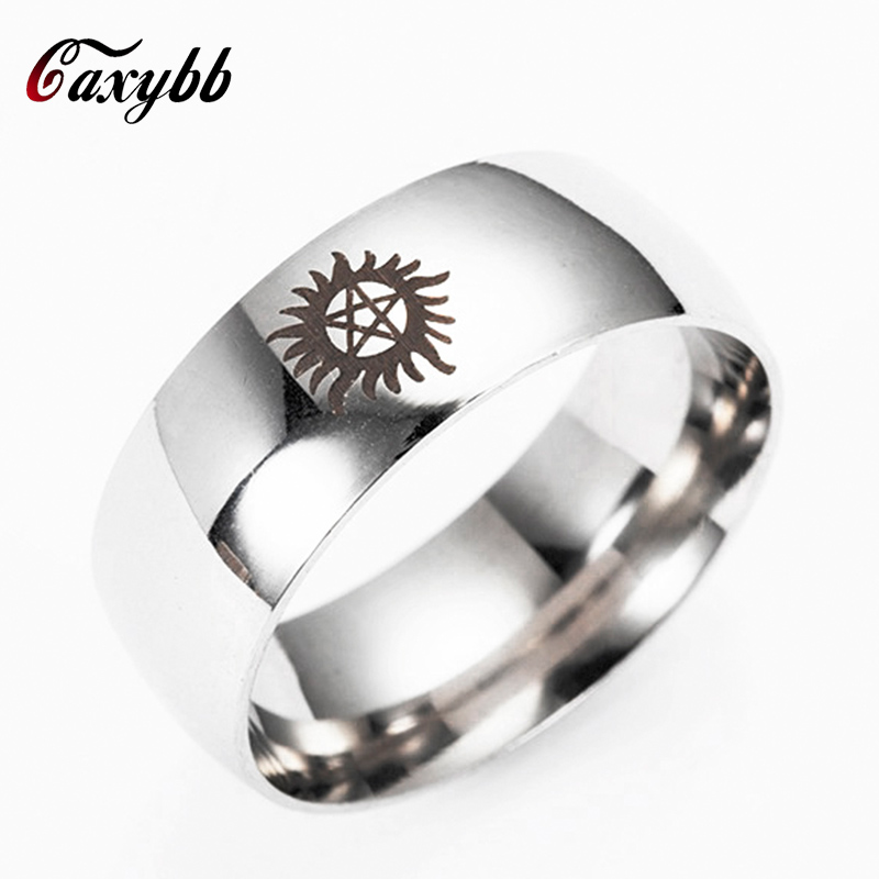 Caxybb Free Shipping Hot Sales Silver Black Golden Dome Supernatural New Men Stainless steel ring Wedding