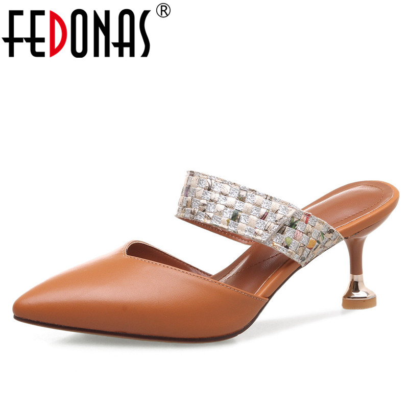 FEDONAS Sexy Women Sandals High Heel Buckles Wedding Party Shoes Woman Genuine Leather Ladies Shoes Pointed Toe Summer Slippers delicate rhinestone filigree butterfly solid color ear cuff for women