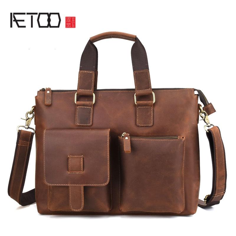 AETOO New Wild Casual Simple High-Quality Genuine Leather Briefcase Men Handbag Business Shoulder Bag Handbag High Quality