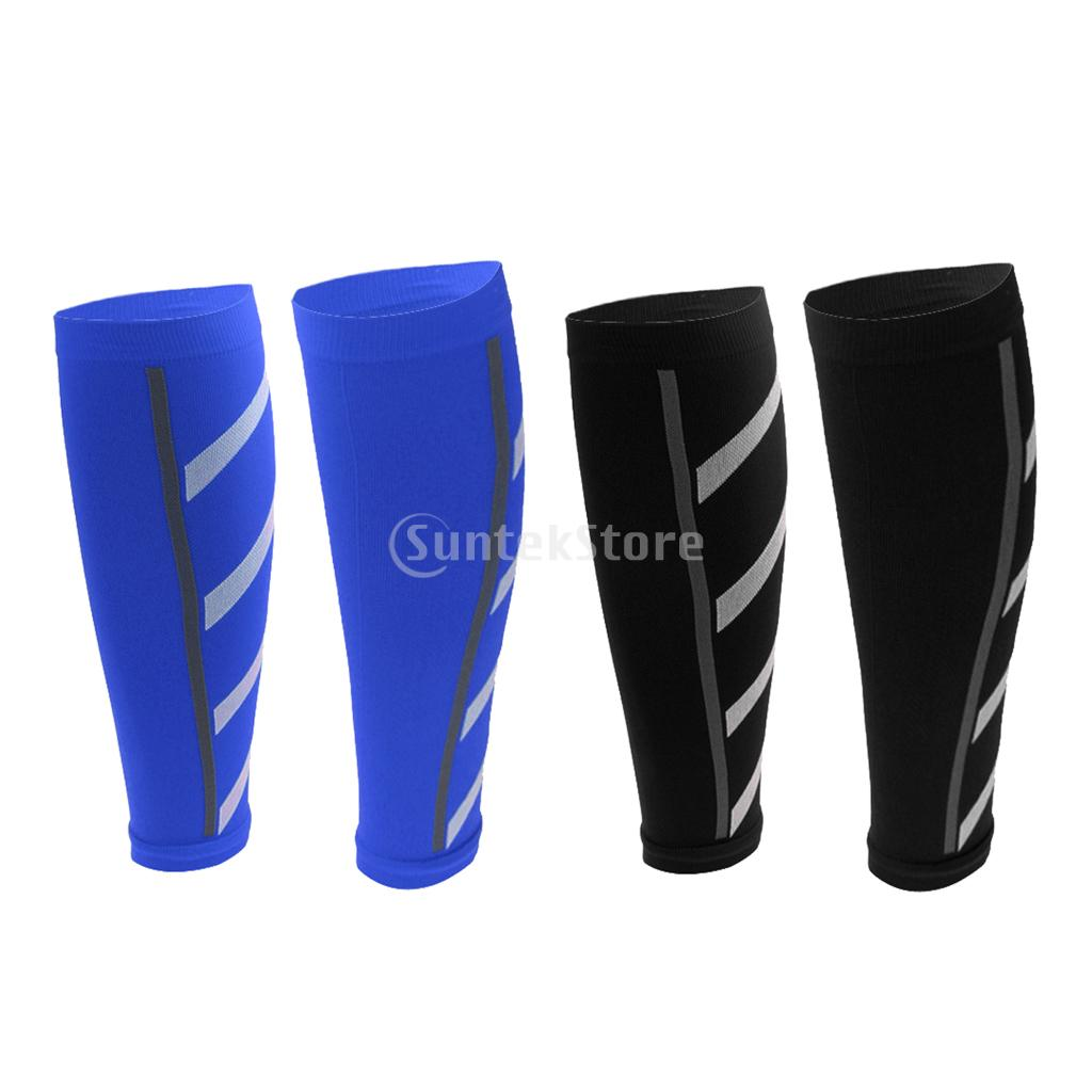2 Pairs Calf Support Leg Shin Splints Socks Sleeve Outdoor Gym Sports Training Compression Support Brace Wrap - Various Colors