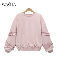 2017 Women Sweatshirt Europe And The United States Pink Color Code Loose Long Sleeve Harajuku Style