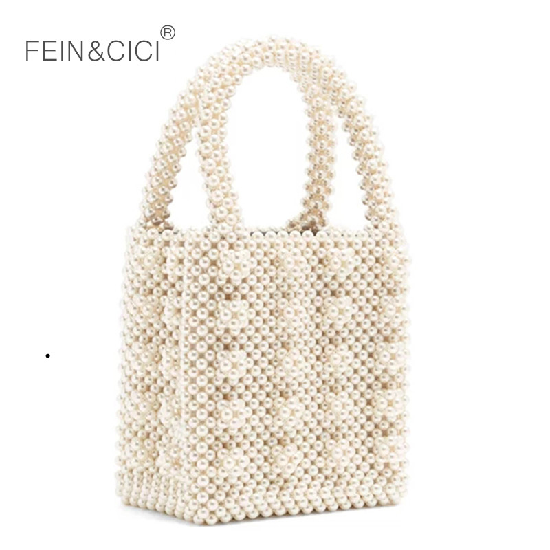 Pearl bag beaded box totes bag women party vintage acrylic plastic handbag 2019 summer luxury brand white yellow blue wholesale