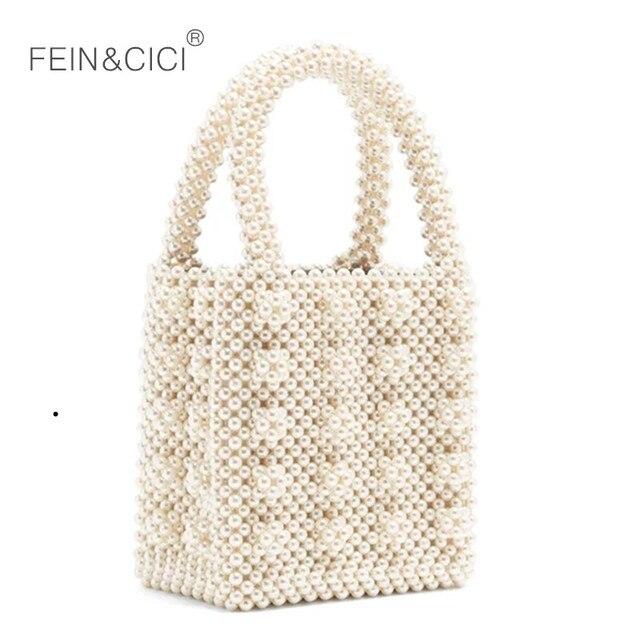 Pearl bag beaded box tote bag women party vintage acrylic plastic bucket handbag summer luxury brand white yellow blue wholesale