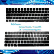 "A1706 US/UK/French/Spanish/German/Japanese/Italian/Korean Key Caps for Macbook Pro 13"" Retina 15"" A1706 A1707 Keycap White Clip(China)"
