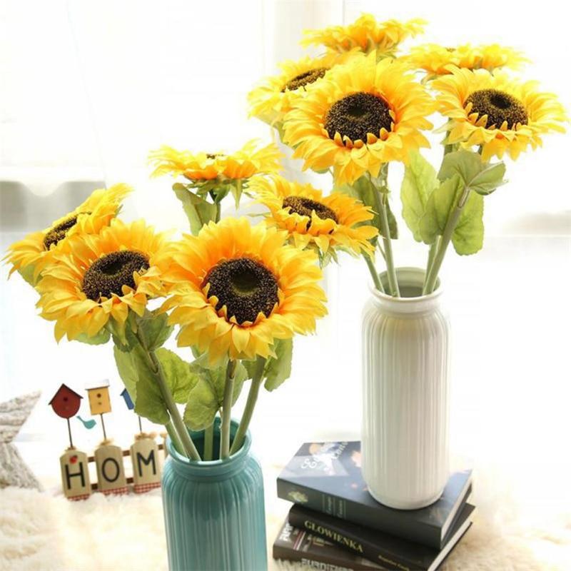 Silk Flower Wedding Bouquets For Sale: Artificial Fake Flowers Sunflower Floral Wedding Bouquet
