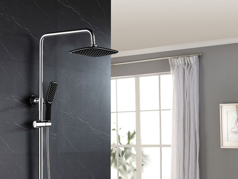 hm Black Rainfall Thermostatic Shower Faucet Set Single Lever Brass Mixer Valve Rack Bath Shower Mixers Rack shower set (26)