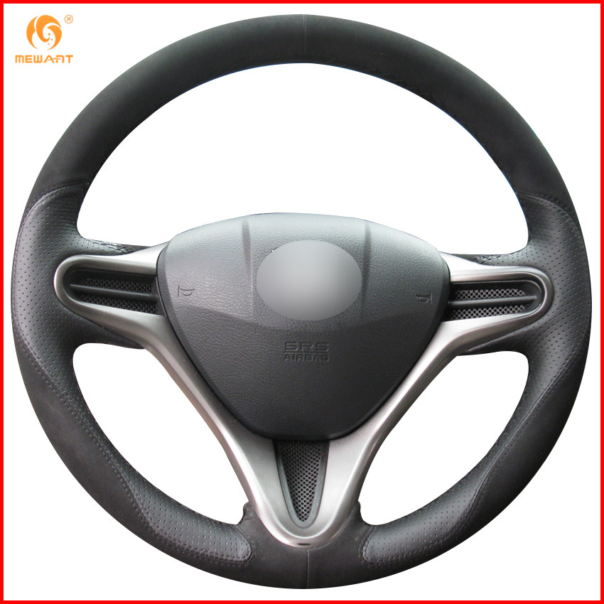 MEWANT Black Leather Black Suede Car Steering Wheel Cover for Honda Fit 2009 2013 City Jazz