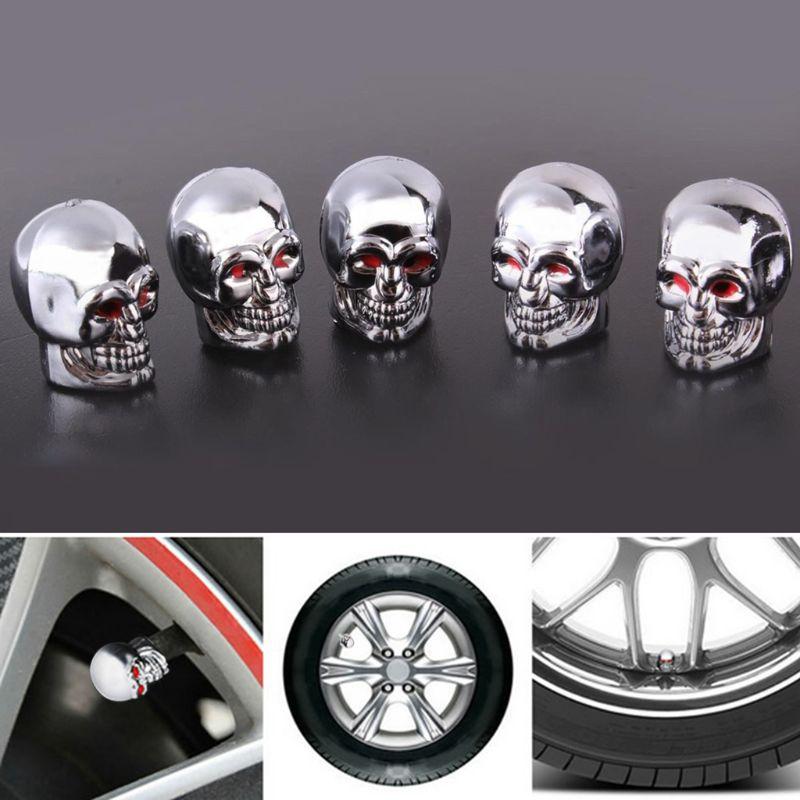 Bicycle Chrome Tyre Tire Dust Caps Wheel Air Valve Stem Screw Cover Lid 5Pc K7T