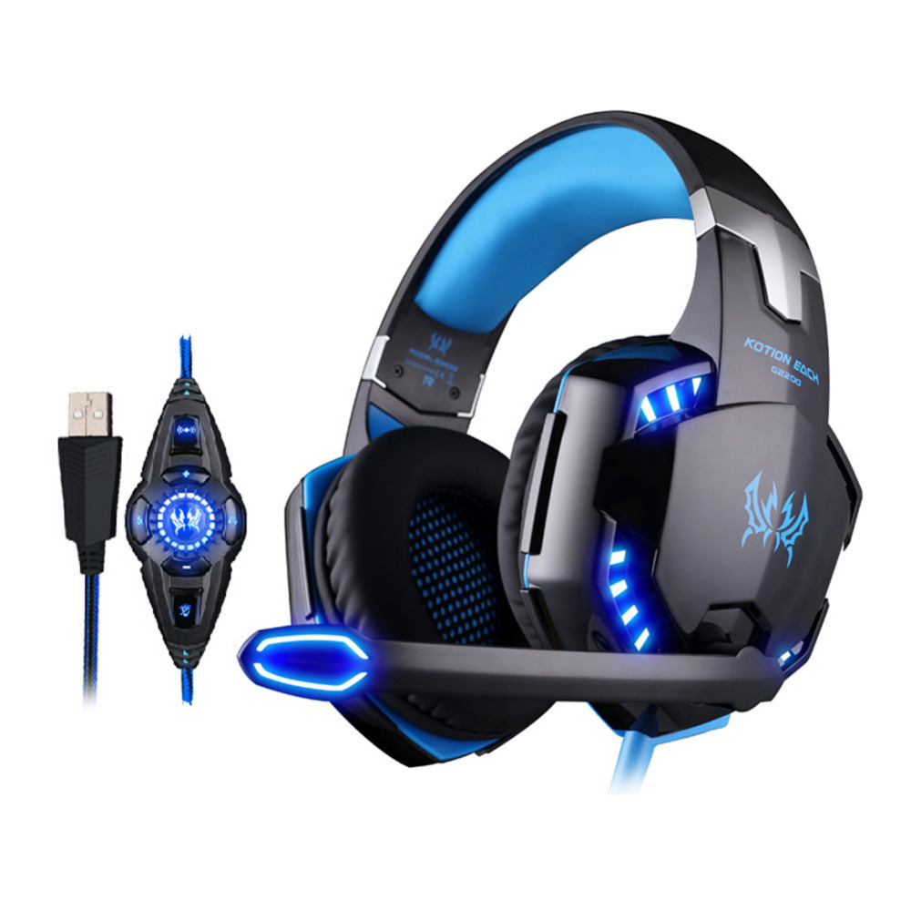 KOTION EACH G2200 USB Headsets Earphones 7.1Surround Sound Vibration Game Gaming Headphone with Microphone LED Light Auriculares