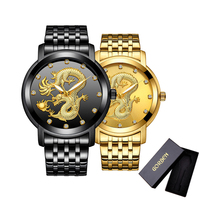 Luxury Dragon Carving Men's Skeleton Watch Top Brand New Quartz Stainless Steel Mens Men Wrist Watches Male Wristwatch with box