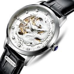 Nesun szkielet smok szwajcaria zegarek mężczyźni luksusowej marki automatyczne mechaniczne zegarki męskie Sapphire wodoodporny zegar N9306 2 w Zegarki mechaniczne od Zegarki na