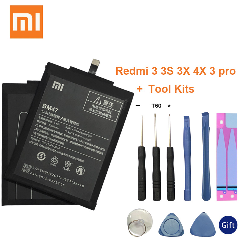BM47 4000mAh For <font><b>XIAOMI</b></font> <font><b>Redmi</b></font> <font><b>4X</b></font> Battery Original <font><b>Xiaomi</b></font> <font><b>Redmi</b></font> 3S Battery <font><b>Redmi</b></font> <font><b>3</b></font> <font><b>3</b></font> Pro 3X <font><b>4X</b></font> Pro <font><b>4X</b></font> Prime Replacement BM 47 image