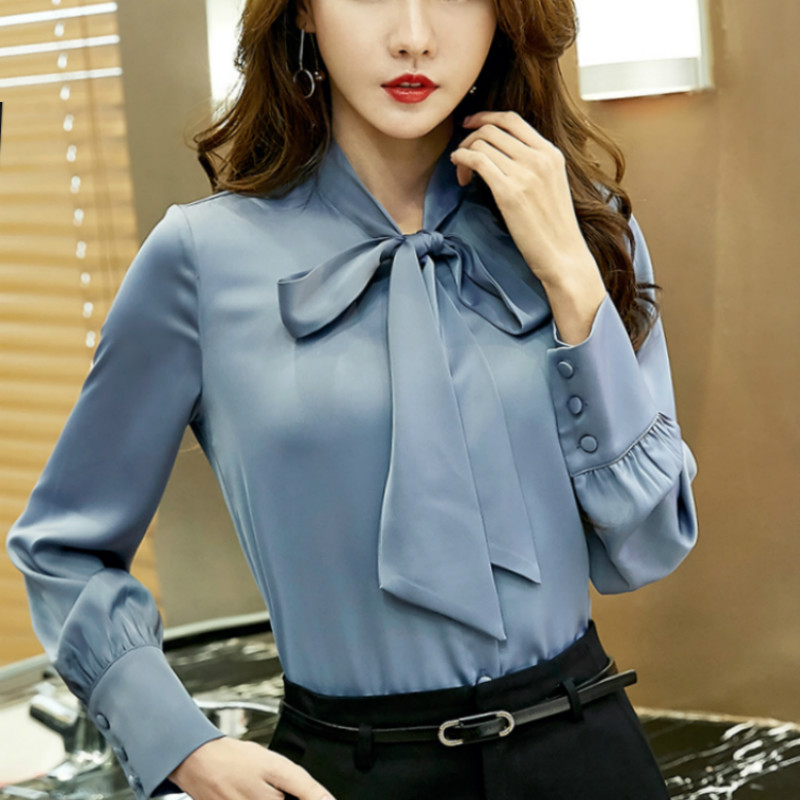 2017 Spring big size long sleeve bow tie satin shirts women work ...