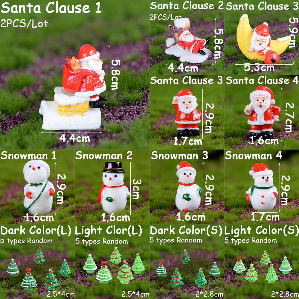 1PC Miniature Christmas Tree Santa Claus Snowmen Gift Box Terrarium Accessories Fairy Garden Figurines Cartoon Doll Ornaments