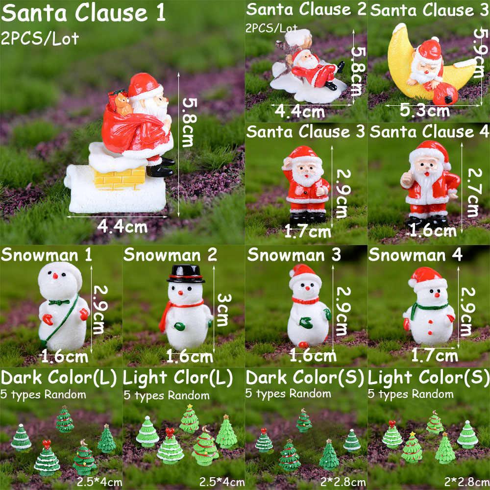 1PC Miniature Festival noël père noël bonhommes de neige cadeau boîte Terrarium accessoires fée jardin Figurine dessin animé poupée ornement