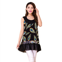 2016 New Fashion Women's Printed plus measurement chiffon shirt sleeveless floral chiffon shirt style tops Black falbala Blouses