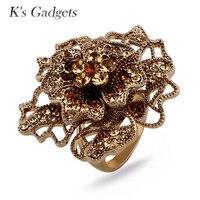 K S Gadgets Romantic Big Flower Ring Luxury Crystal Rhinestone Wedding Rings For Women Top Quality