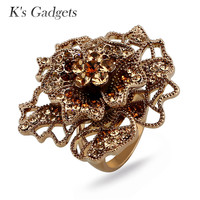 K S Gadgets Romantic Big Flower Ring Luxury Crystal Rhinestone Wedding Rings For Women Top Quality