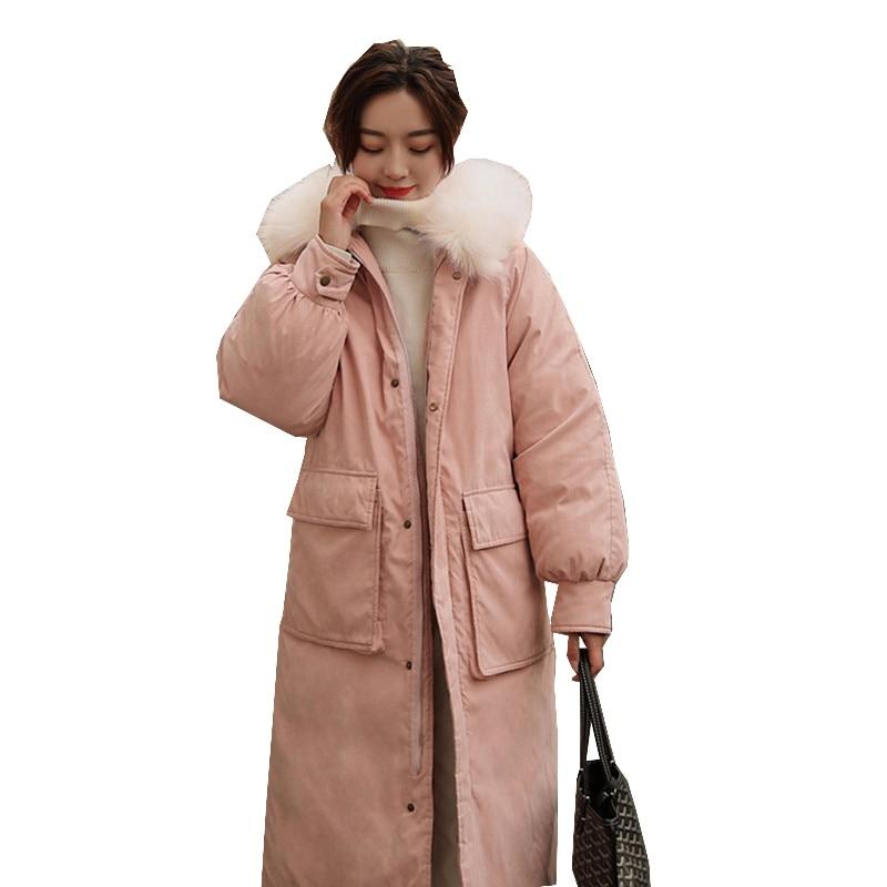 2019 New Autumn winter Outwear Coats Jackets long sleeve Knee length Medium length Thick warm Women   parka   Fashion Cotton C20