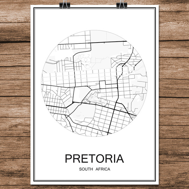 Black white world city map of pretoria south africa print poster black white world city map of pretoria south africa print poster coated paper cafe bar living gumiabroncs Choice Image