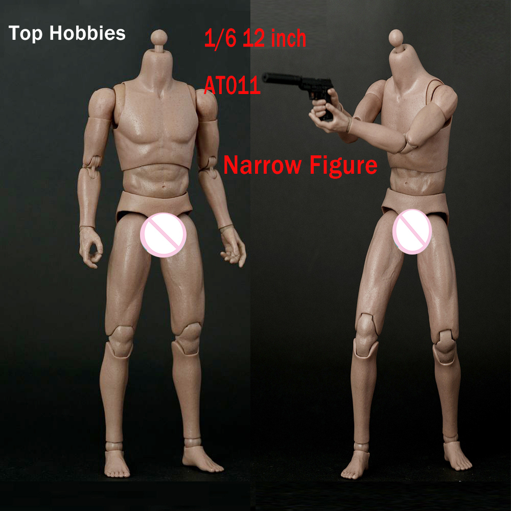 WorldBox 1/6 Scale Narrow Shoulder Male Body Action Figure AT011 For 12 inch Hot Toys include 2PCS Hand Model Resistant Muscle 1 6 scale narrow shoulder action figure male nude body display model brown