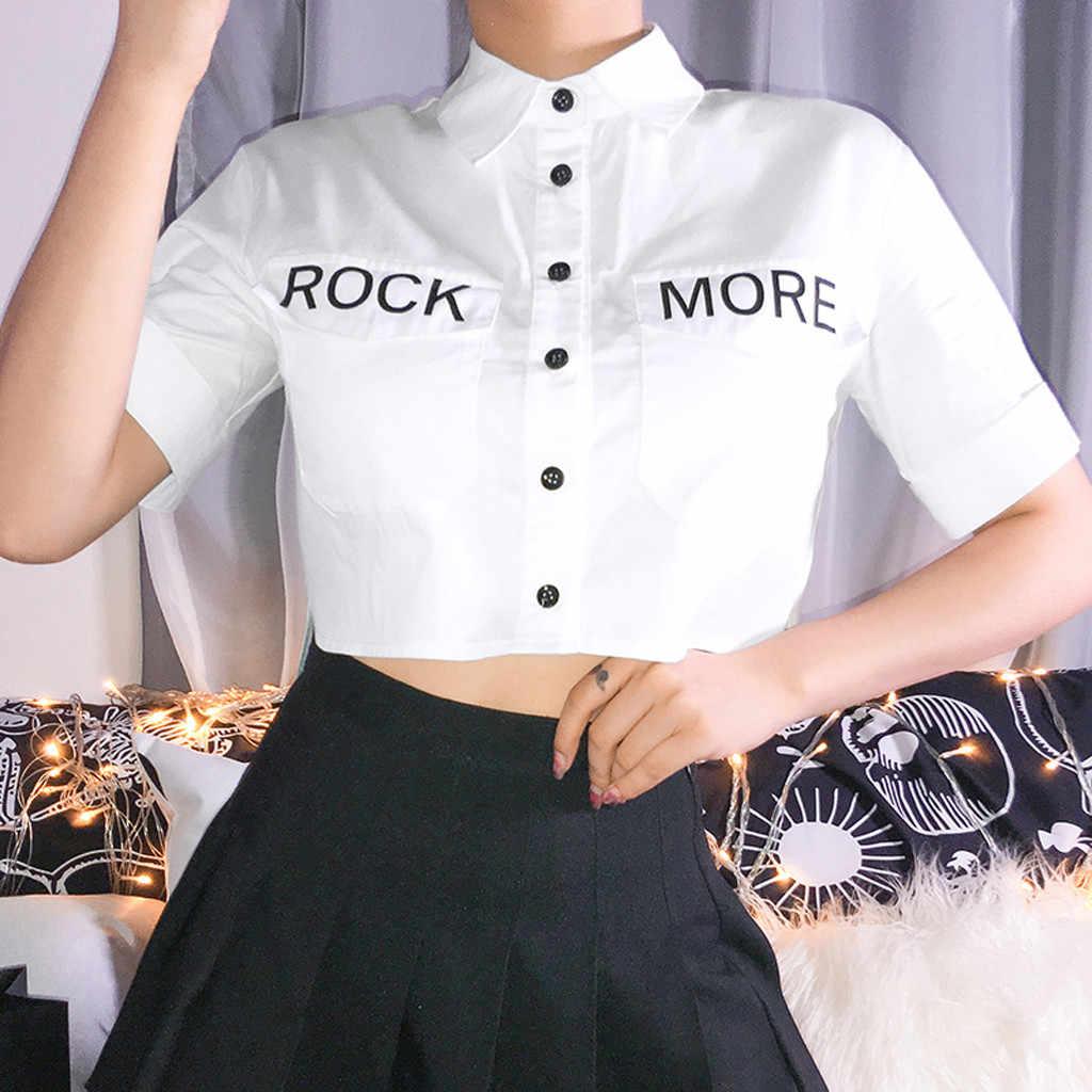 גבירותיי סקסי דש חולצה למעלה 2019 ילדה מקרית אופנה קצר שרוולים מכתב הדפסה קצר חולצה למעלה camiseta transparente