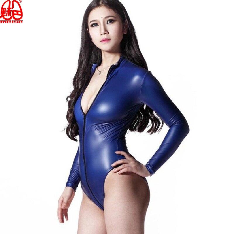 Sexy femmes 200D Latex haute coupe Body Catsuit string corps costumes à manches longues Moto et motard tenue de club Body danse vêtement F116