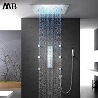 Музыка Динамик дождя светодиодный свет душ 600*800 мм водопад, ливень Мисти душ Термостатический для ванных и душевых смесители
