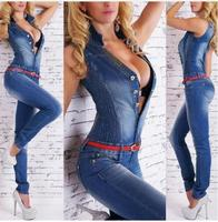 Overalls Women Bodycon Jumpsuit 2018 Summer Spring V Neck Denim Overalls Jumpsuits Full Jeans Woman Pant Macacao Feminino J1110