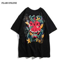 2019 Cotton Short Sleeve Summer Tops Tee Hip Hop Back Printed T Shirt Men Snake Ghost Tshirt Harajuku Street wear