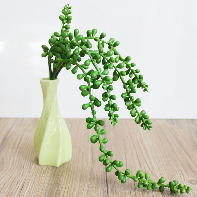 1pc Artificial Succulents Rattans Long Soft Plastic Beads Real Touch Valentines Tears Fake Flowers Wedding Home Decoration D Festive & Party Supplies Home & Garden