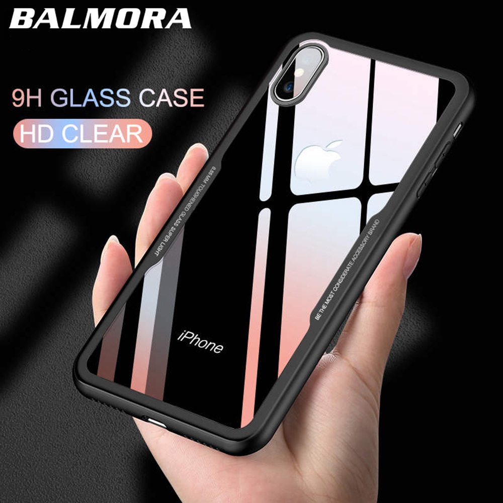 BALMORA Tempered Glass Phone Case For iPhone 7 8 plus Cases Clear Protective Glass Cover For iPhone 6 6s Plus X Coat Accessories