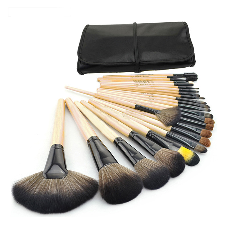 24Pcs Wood Makeup Brushes Kit Professional Cosmetic Make Up Set + Pouch Bag Case 789(China)