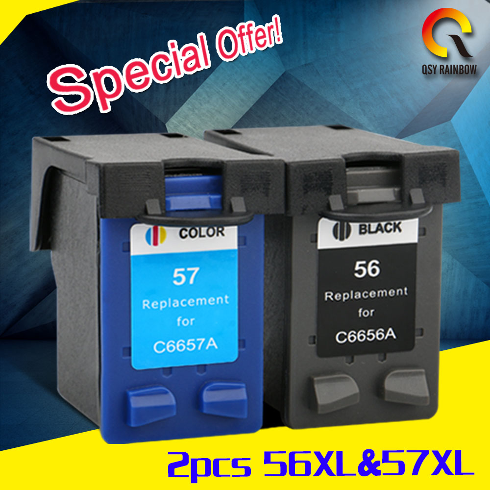 2pcs For HP 56 57 Ink Cartridge for HP56 xl 57 xl Deskjet 5150 450CI 5550