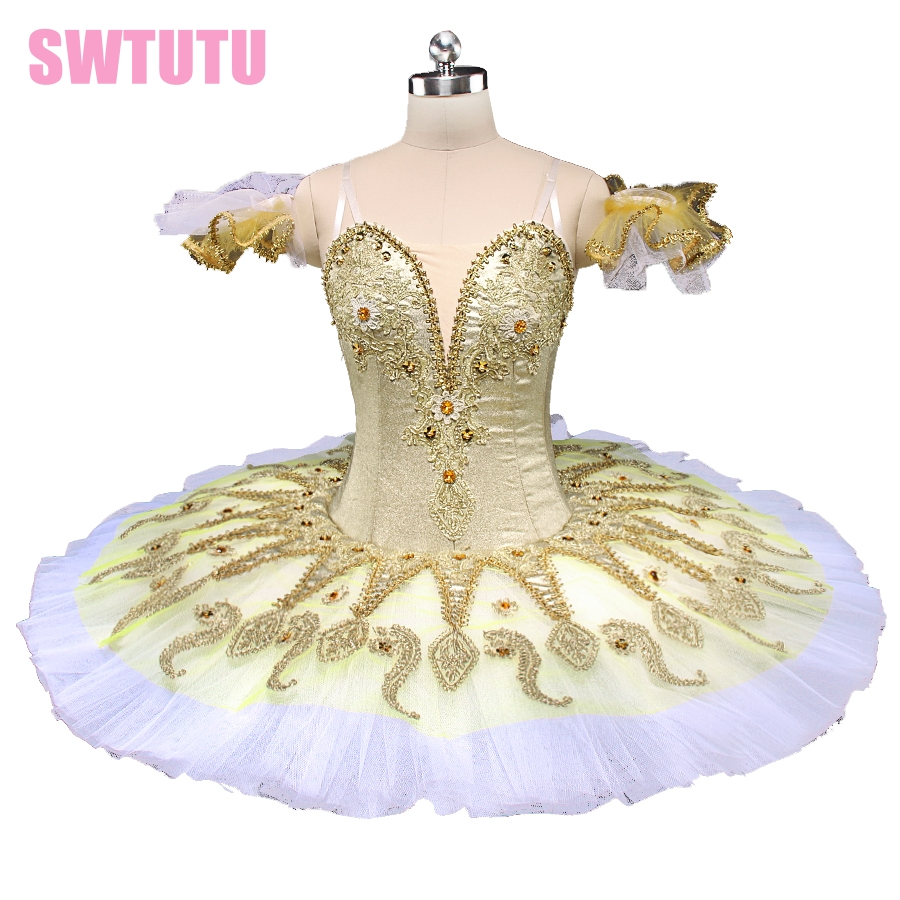 New gold ballet platter tutu for competiton girls sleeping beauty ballet tutu classical professional ballet tutu pancakeBT9134B