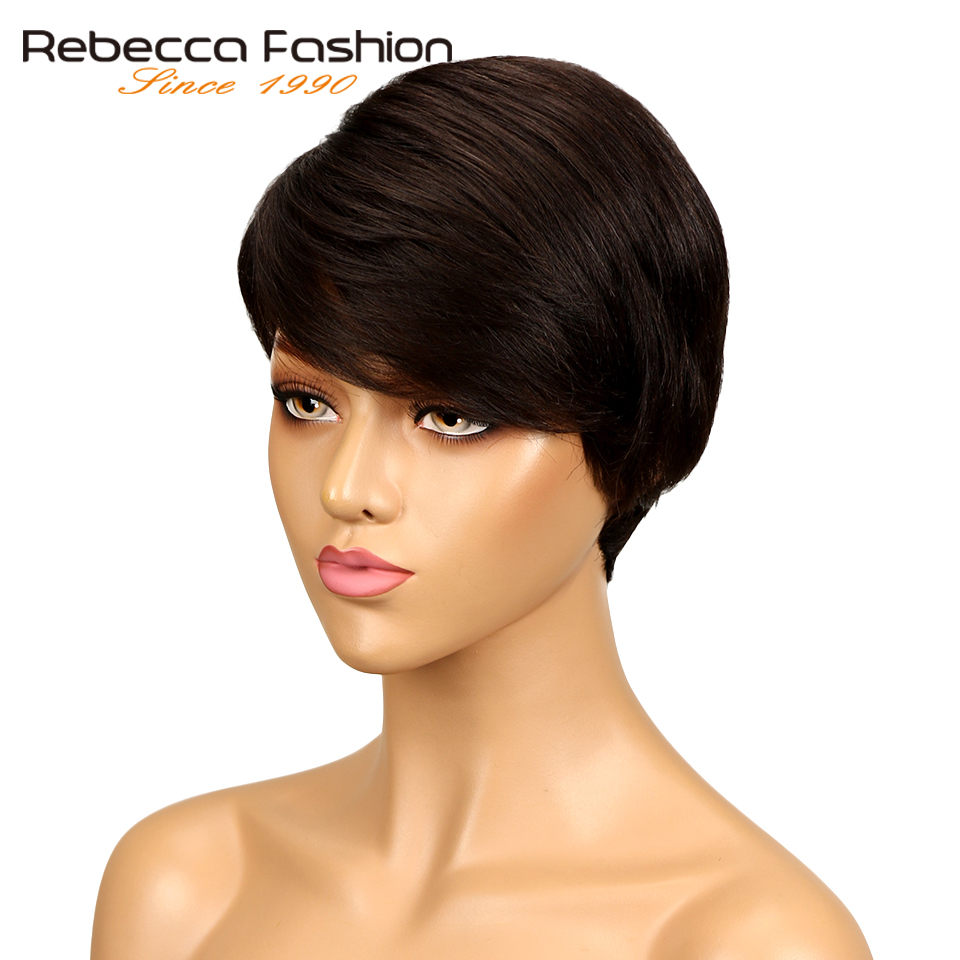 Rebecca Hair Brazilian Remy Straight Hair Dark Brown Wig Machine Made Non Lace Short Human Hair Wigs For Women Color #2