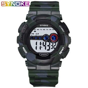 SYNOKE Fshion Luxury Brand Digital Mens Sport Watches Electronic Watch LED Wrist Date Alarm Waterproof Sports Army Wristwatches