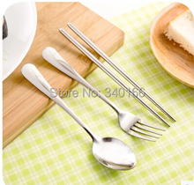 Free Shipping! 2014 New Christmas stainless steel tableware travelling set spoon tea fork knife dinning set