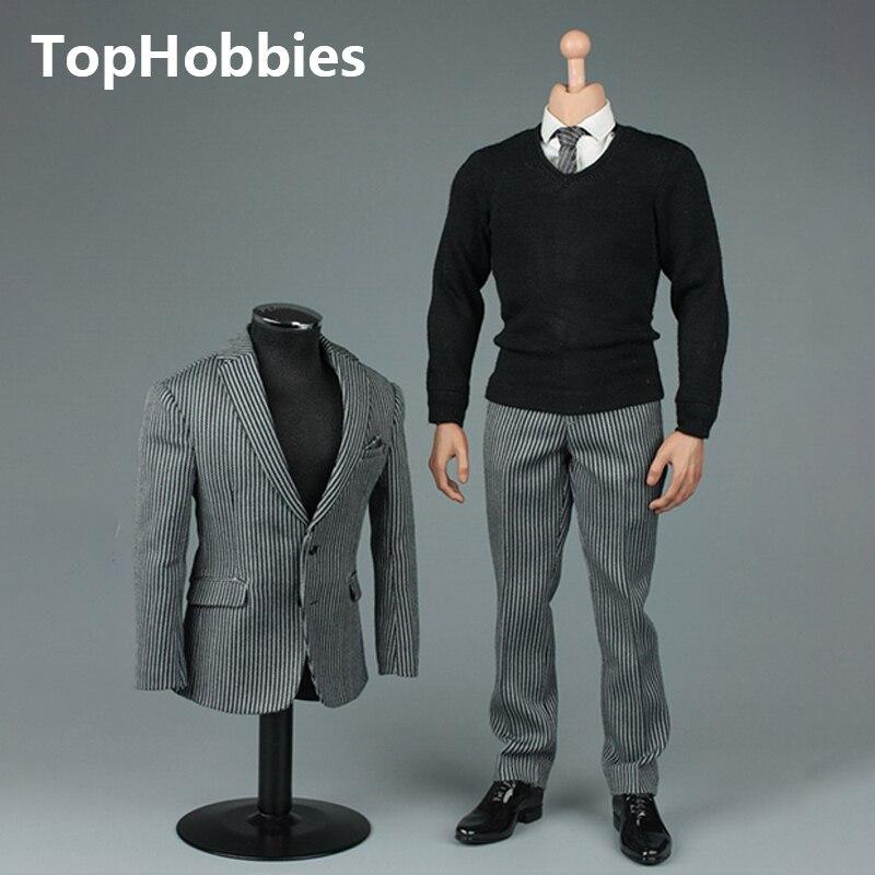 """Oyuncaklar ve Hobi Ürünleri'ten Aksiyon ve Oyuncak Figürleri'de VORTOYS V1005 1/6 İngiliz Beyefendi Takım Elbise 2.0 Siyah Bir/B Gri/C Şerit için 12"""" beckham Tahsil Action Figure DIY'da  Grup 3"""