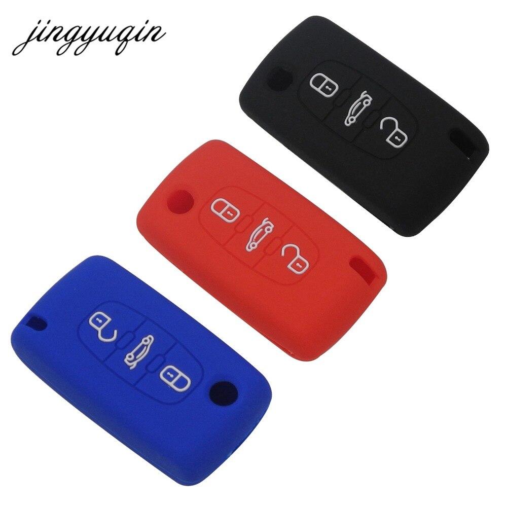 Jingyuqin 10pcs nuevo de silicona bolsa caso Clave 2 botones para PEUGEOT 206, 207, 307, 308, 407/408/ Citroen C2 C3 C4 C4L C5 C6