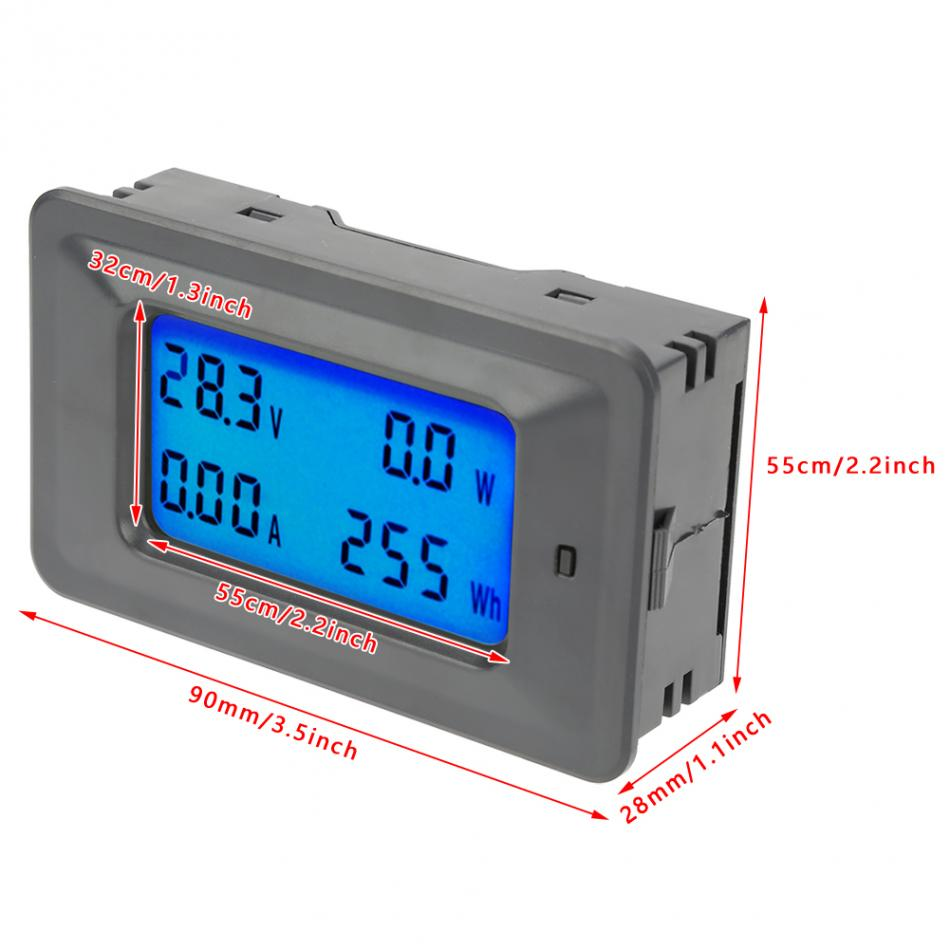 PC05-20 20A DC Digital Display Voltmeter Ammeter Voltage Current Power  Tester Meter Electric Energy Monitor