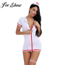 Sexy Women Girls Lingerie Set Zipper Nurse Babydoll with Hair Hoop G-string and Leg Loop Role Playing Costume Halloween Cosplay(China)