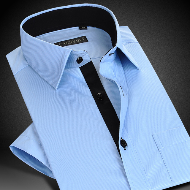 CAIZIYIJIA Summer 2017 Men's Short Sleeve Classic Fit Dress Shirt Solid Color Turn-down Collar Comfort Soft Business Twill Shirt