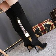 LTARTA/женские пикантные супер сапоги; Женские Сапоги выше колена; сезон осень-зима; сапоги с острым носком из эластичной ткани на высоком каблуке 11 см ZL-139-20