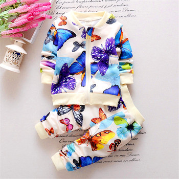 2016 Spring Autumn New Baby Girl Leisure Clothing Set Children two-piece Sport Set Kids Flowers Butterfly Suits Child Outfits